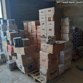 دهم مخازن وسوبرماركت وضبط مواد غذائية معدة للتهريب الى سوريا