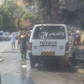 حريق داخل ڤان في الجديدة