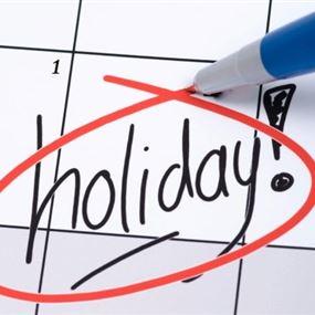 عطلة رسميّة في 4 و7 أيار
