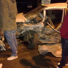 بالصور: قتيل وجريح بحادث مروع