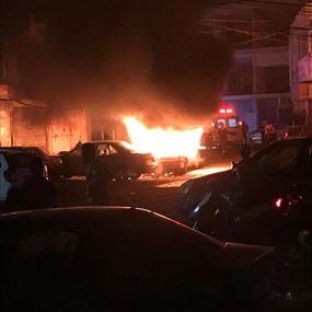 اخماد حريق داخل سيارة وعمود للكهرباء في حارة حريك