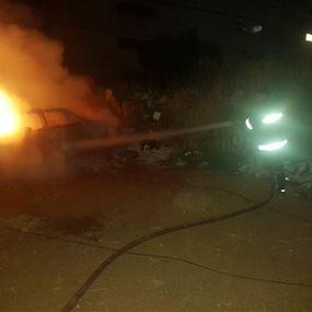 بالصور: حريق سيارة في المكلس