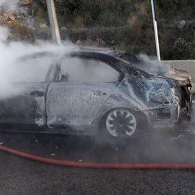 بالصور: احتراق سيارة على اوتوستراد المتن السريع