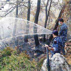 قوى الأمن تساند في اخماد الحرائق على جميع الأراضي اللبنانية
