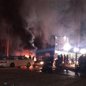 بالصور والفيديو: قطع طريق المدينة الرياضية بالإطارات المشتعلة
