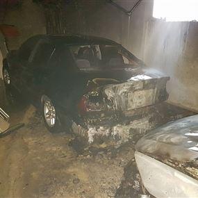 بالصور: حريق سيارتين في السبتية