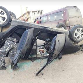 انقلبت سيارته بعد تعرضه لاطلاق نار من قبل مسلحين مجهولين!