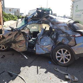 جريحة جراء حادث سير على اوتوستراد الكرنتينا - الحازمية