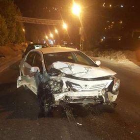 بالصورة: حادث سير في ميروبا...وهذا ما نتج عنه