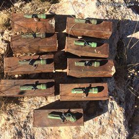 بالصور.. الجيش يضبط 11 عبوة ناسفة معدة للتفجير