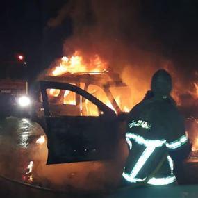 حريق سيارة رباعية الدفع في جبيل