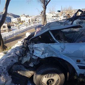جريح اثر حادث سير في حراجل