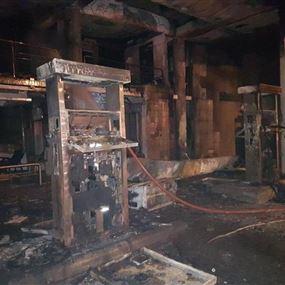بالصور: حريق داخل محطة محروقات وسيارة في جل الديب