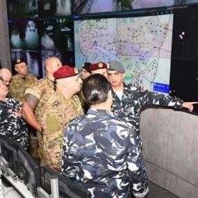 بالصور: قائد الجيش في ثكنة الحلو داخل غرفة عمليات قوى الأمن