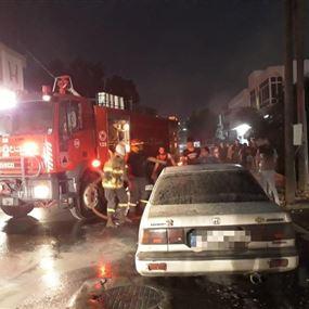 حريق داخل سيارة في عمشيت