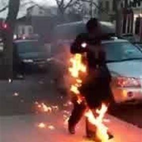 هكذا أنقذت خليجية سائق شاحنة من الحريق