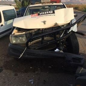 جرحى إثر حادث بين آلية للجيش اللبناني وأخرى لمنظمة ماغ الدولية