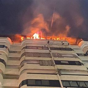 حريق داخل شقة واخلاء سكان المبنى في الطيونة