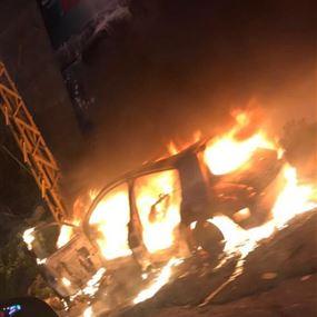 حريق سيارة في المنصورية