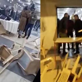 بالفيديو: هرج وتدافع وتكسير في حفل خطوبة