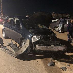 اصابة شخص برضوض في حادث سير