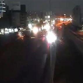 بالفيديو: انقلاب سيارة على جسر انطلياس