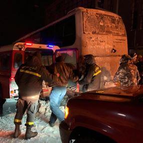 انقاذ ٣٧ نازحاً بينهم عشرة أطفال حاصرتهم الثلوج في ضهر البيدر