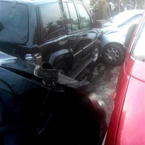 بالصور: أبو سليم يتعرض لحادث سير في بيروت