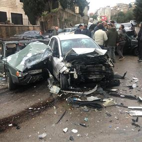 خمسة جرحى اثر حادث سير مروع في عجلتون