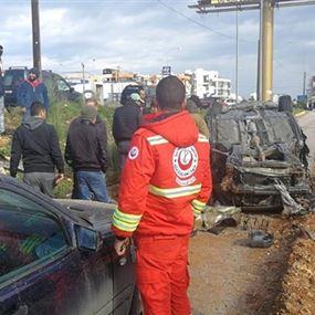 بالصور: إصابة نجل الوزير معين المرعبي في حادث سير مروّع