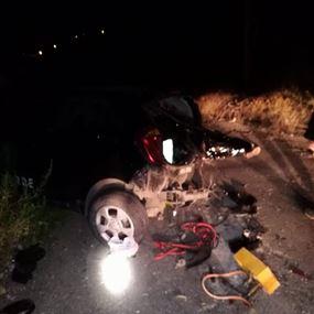 بالصور: قتيل جراء تدهور سيارته عن علو ٣٠ مترا في حراجل