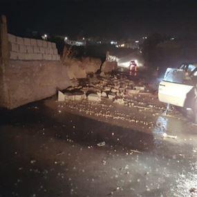 سيول جارفة في بلدة النبي شيت تسببت بأضرار كبيرة